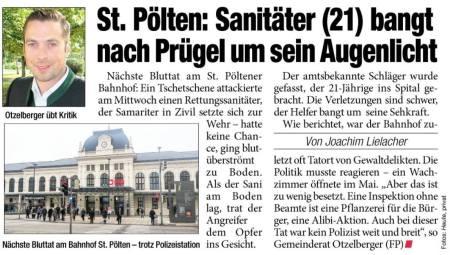 Bahnhof Pölten Gewalt 14.5.2015