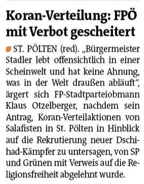 Koran Verbot Bezirksblatt 6 Mai 2015