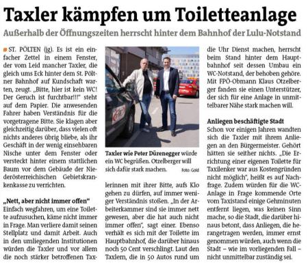Taxler kämpfen um Toiletteanlage
